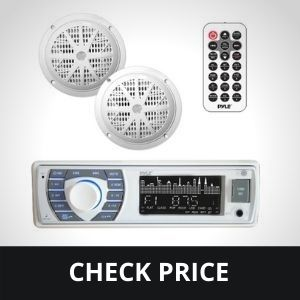 Marine Receiver & Speaker Kit - In-Dash LCD Digital Stereo Built-in Bluetooth & Microphone w/ AM FM Radio System 5.25'' Waterproof Speakers